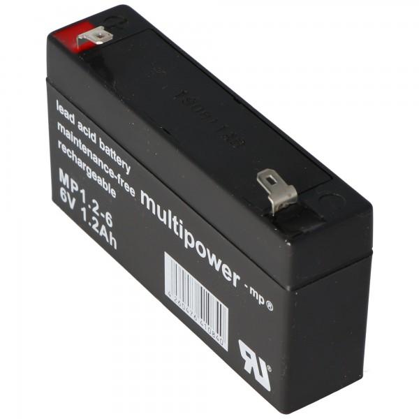 Multipower MP1.2-6 batterij PB-kabel, 6 volt 1200 mAh, aansluiting 4.8