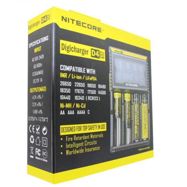 NiteCore lader Digicharger D4 EU met display voor AAA, AA, C