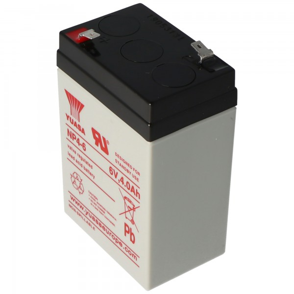 Yuasa NP4-6 accukabel PB 6 volt 4Ah Faston 4,8 mm