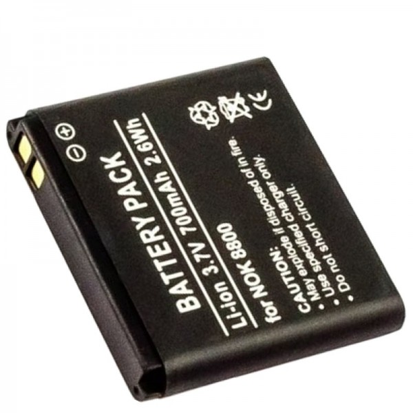 AccuCell-batterij geschikt voor Nokia 8800 Sirocco Edition, BL-5X, BP-6X, BL-6X, BP-5X
