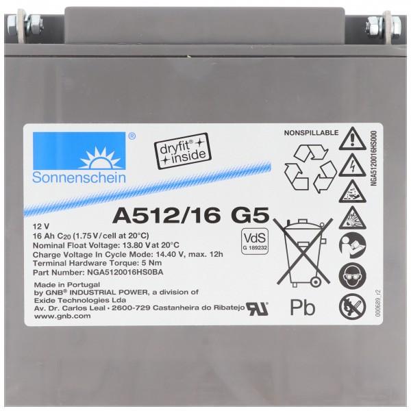 Sonnenschein Dryfit A512 / 16G5 loodbatterij, aansluiting M5, VDS G1892