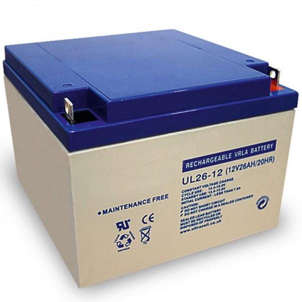 Ultracell UL26-12 loodbatterij 12 volt met 26Ah en M5-schroefverbinding