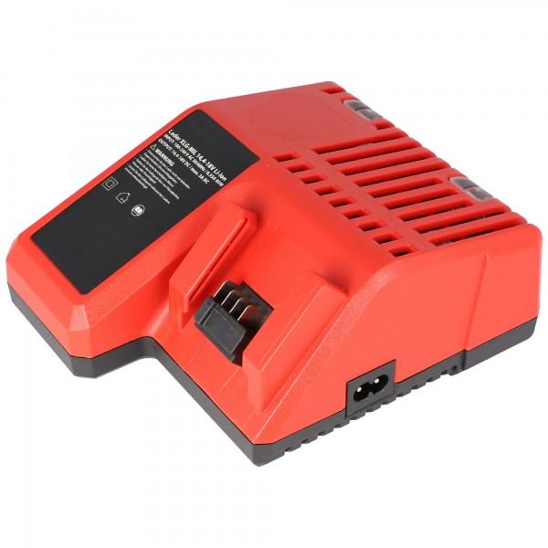 Snellader geschikt voor de Milwaukee M18 batterij, laadt 14,4 tot 18,0 volt Li-ion batterij