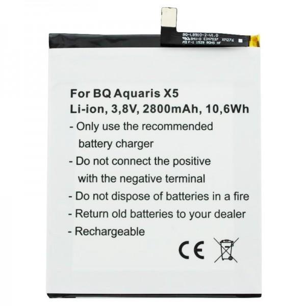 Batterij geschikt voor BQ Aquaris X5 batterij 2900 met 3.8 volt 2800