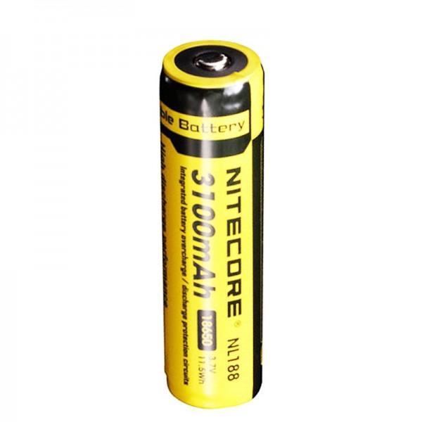 NiteCore 18650 Li-ionbatterij voor LED-zaklampen NL188 met 3100 mAh