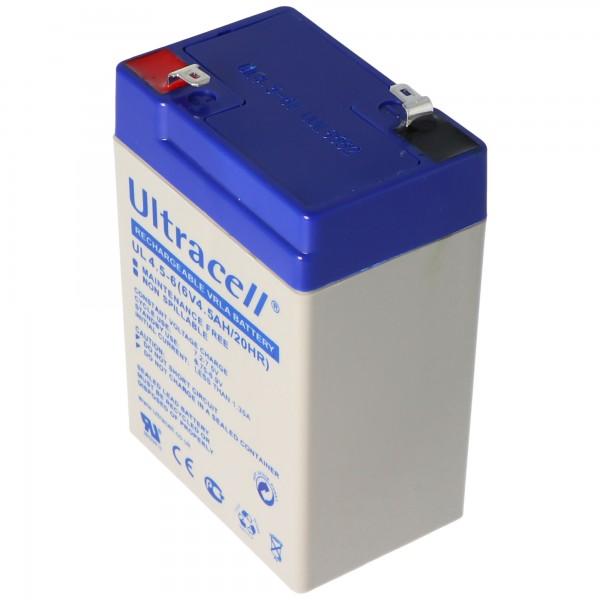 Ultracell UL 4.5-6 loodbatterij met Faston-contacten van 4,8 mm