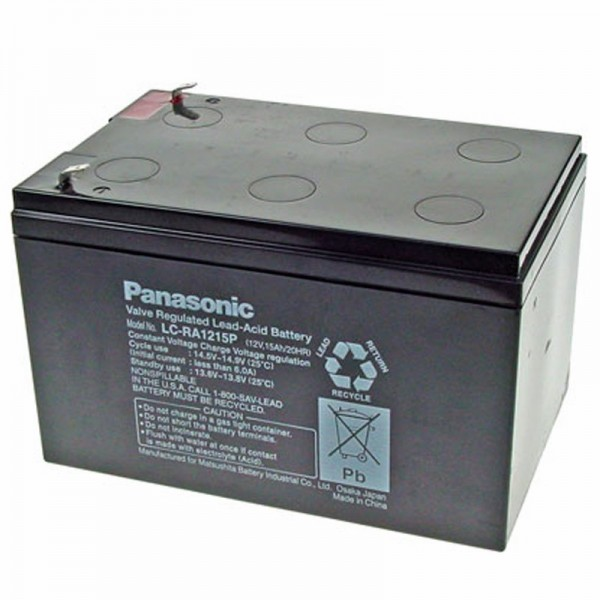 Panasonic LC-RA1215P1 batterij 12 volt 15Ah, stekkercontacten 6,3 mm