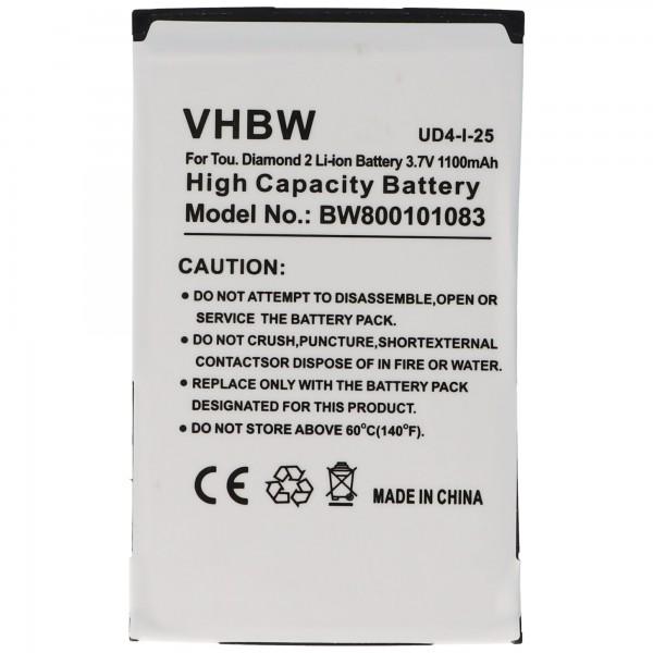 AccuCell-batterij geschikt voor HTC Touch Diamond 2, TOPA160, 35H00125-02M, BA
