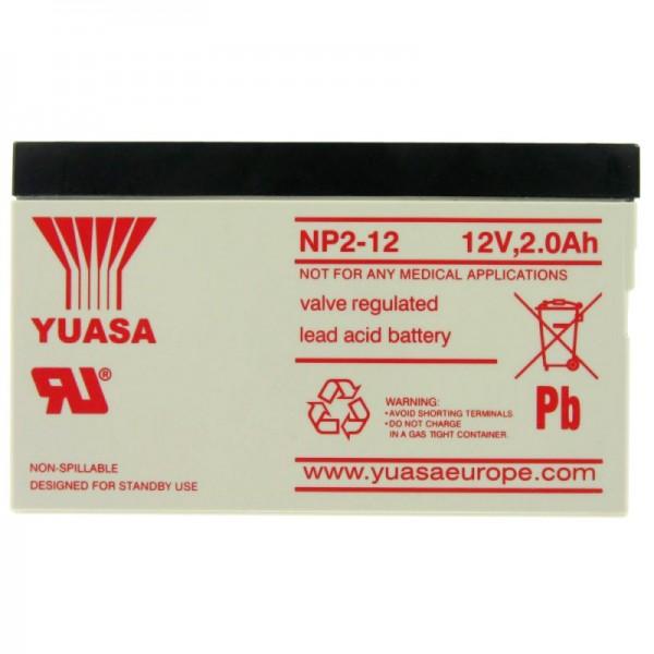 YUASA NP2-12 accukabel PB 12 volt 2000mAh, niet langer beschikbaar, maar we leveren een identieke batterij