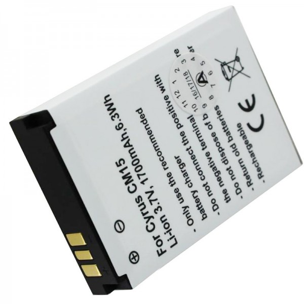 Batterij geschikt voor de Cyrus CM15 batterij CYR10015, 3,7 volt 1700mAh