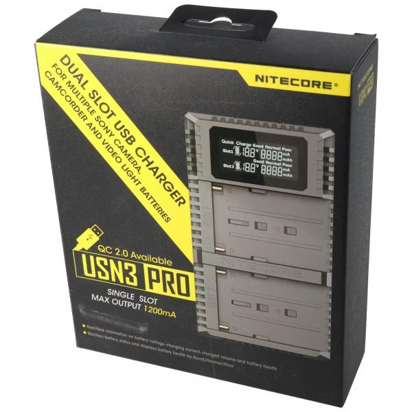 2-weg snellader geschikt voor de batterij Sony NP-FM500H, NP-F730, NP-F750, NP-F770, NP-F970, NP-F550 en identiek