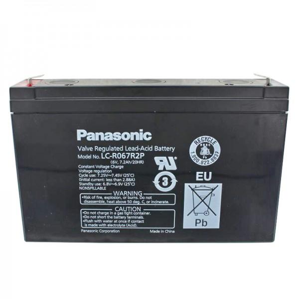 Panasonic LC-R067R2P PB loodbatterij 6 volt, 7,2 Ah met Faston-contacten van 4,8 mm