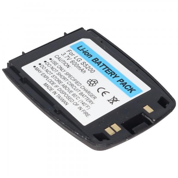 AccuCell-batterij geschikt voor LG S5200, 600 mAh mat zwart