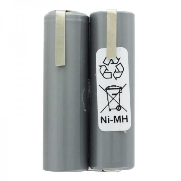 Batterij geschikt voor haartrimmer 2,4 volt NiMH Mignon AA 2000 mAh tot max. 2200 mAh, 49 x 15 x 28 mm