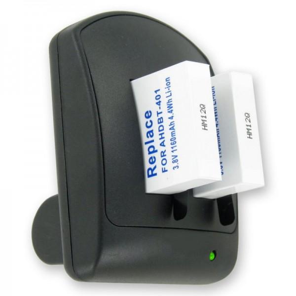 Dubbele oplader voor GoPro Hero 4-batterij AHDBT-401 inclusief 2 batterijen