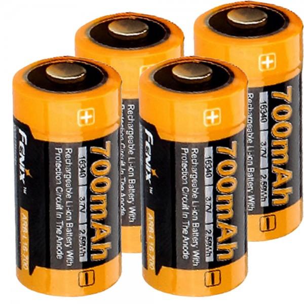 4 x Li-ion-batterijen met 3,7 volt, min. 700 mAh, meestal 760 mAh, max. 820 mAh capaciteit inclusief batterijbox ideaal voor Arlo bewakingscamera en LED-zaklampen