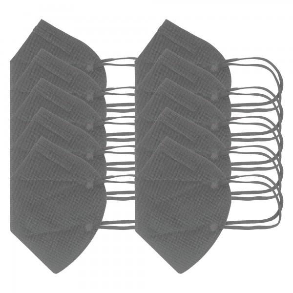 10 stuks FFP2 masker grijs 5-laags, gecertificeerd volgens DIN EN149: 2001 + A1: 2009, partikelfilterend halfgelaatsmasker, FFP2 beschermend masker