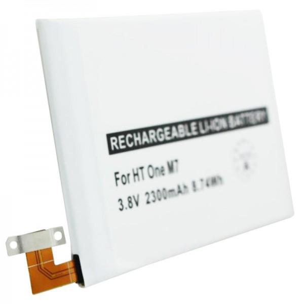 Batterij geschikt voor HTC One M7, vervangende batterij 35H00207-01M, BN07100