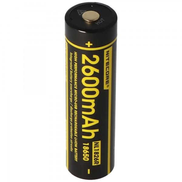 Nitecore Li-Ion batterij type 18650 - 2600mAh - NL1826R