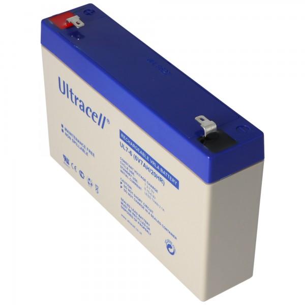 Ultracell UL7-6 loodbatterij 6 Volt 7Ah met Faston 4,8 mm contacten
