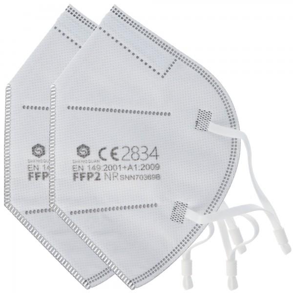 2 stuks FFP2 beschermingsmasker 5-laags zonder klep, gecertificeerd volgens DIN EN149: 2001 + A1: 2009, deeltjesfilterend halfgelaatsmasker