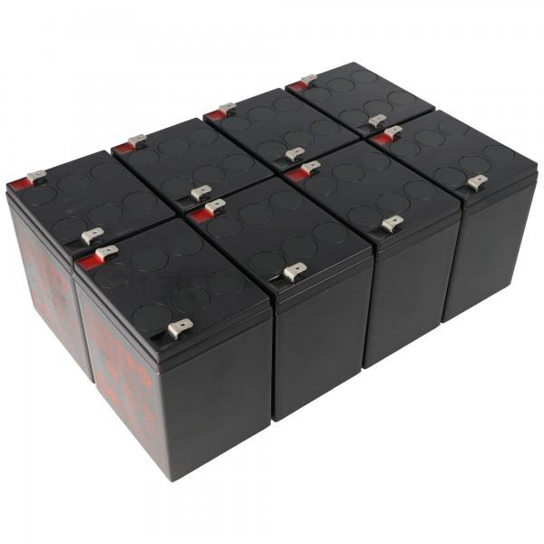 Vervangende batterij geschikt voor APC RBC43 batterijset bestaande uit 8 batterijen