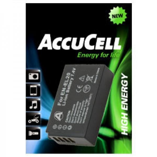 AccuCell-batterij geschikt voor EN-EL20-batterij, Nikon 1 J1-batterij