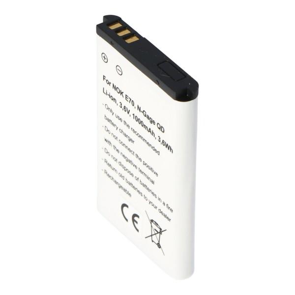 AccuCell-batterij geschikt voor Nokia E70, N-Gage QD, Nokia BL-6C-batterij 1000 mAh