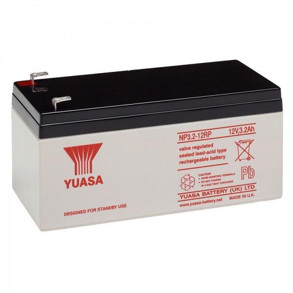 YUASA NP3.2-12 loodbatterij 12 volt, 3200 mAh met Faston-contacten van 4,8 mm