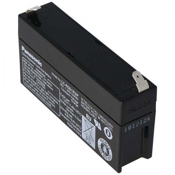 Panasonic LC-R061R3PG loodbatterij 6 volt 1,3 Ah met 4,8 mm plugcontacten