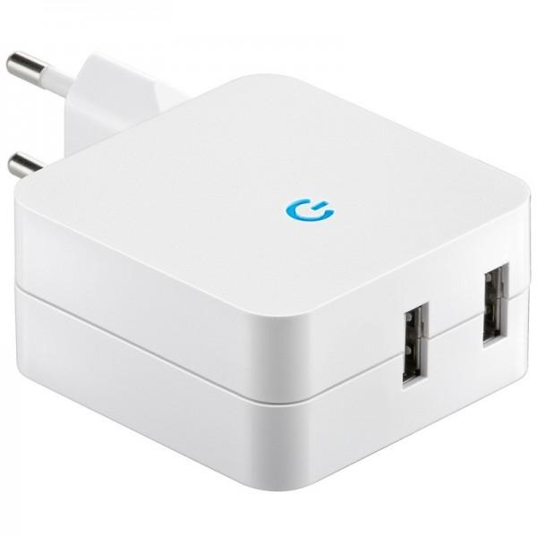 USB-laadadapter van 230 volt aansluiting naar USB, 2x USB-uitgang max. 4.2A-uitgang
