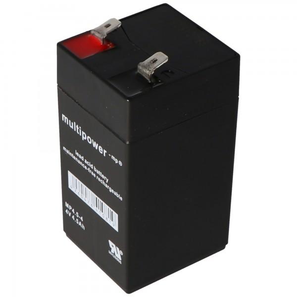 Multipower MP4.5-4 batterij PB-kabel 4 volt, 4500 mAh, 6,3 mm contacten