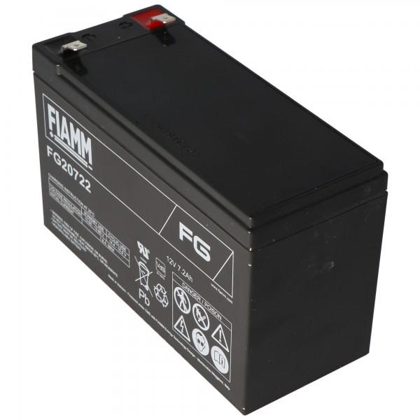 Fiamm FG20722 batterij 12 volt, 7,2 Ah met 6,3 mm stekkercontacten