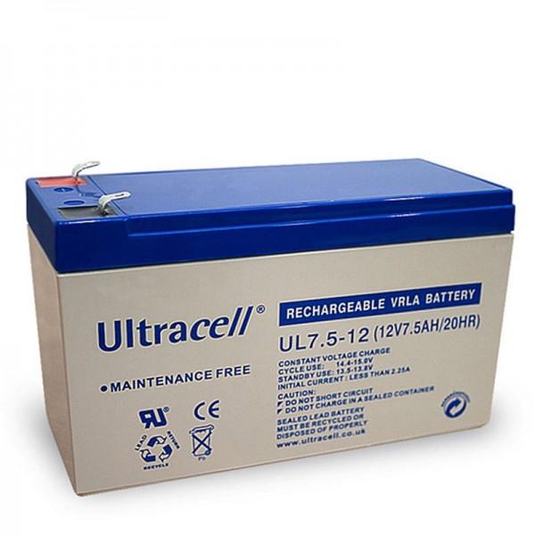 Ultracell UL7.5-12 loodbatterij 12 volt met 7,5 Ah en 4,8 mm contacten