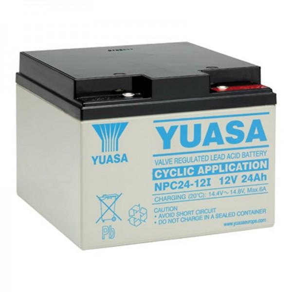 Yuasa NPC24-12I loodbatterij cyclusbestendig 12 volt, 24Ah