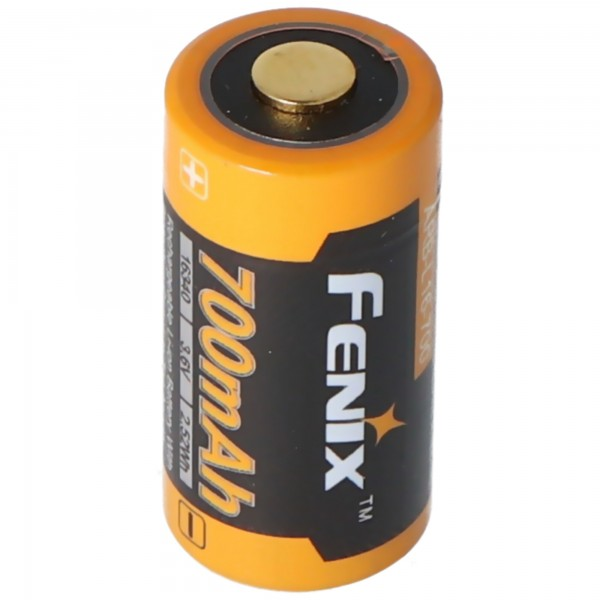 CR123 Een Li-ionbatterij 16340 met 3,7 volt, min. 700 mAh, meestal 760 mAh, max. 820 mAh, 35x16 mm capaciteit met AkkuShop-transportdoos