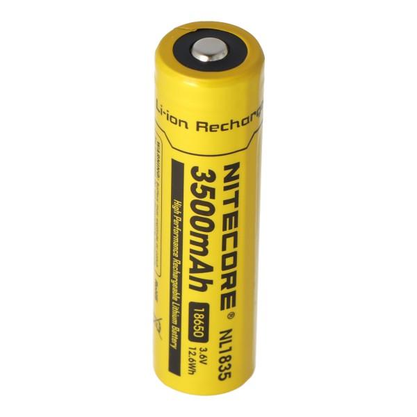 Nitecore Li-ion batterij 18650, 3,7 volt met 3500 mAh NL1835, ontlaadstroom max. 2Ah, afmetingen ca. 69,3 x 18,3 mm