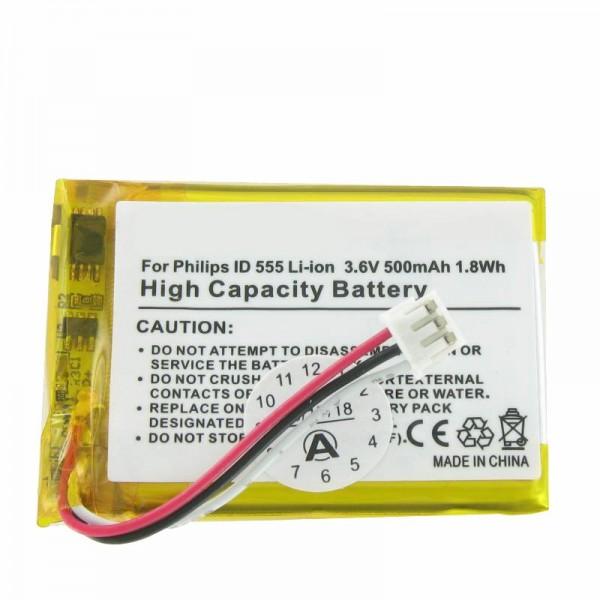 AccuCell-batterij geschikt voor de batterij PHILIPS ID 555 batterij SL-422943