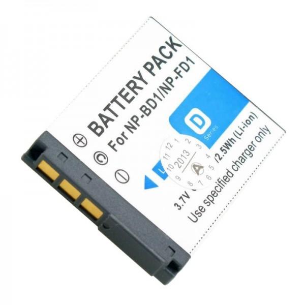 AccuCell-batterij geschikt voor Sony Cybershot DSC-T70, 750mAh